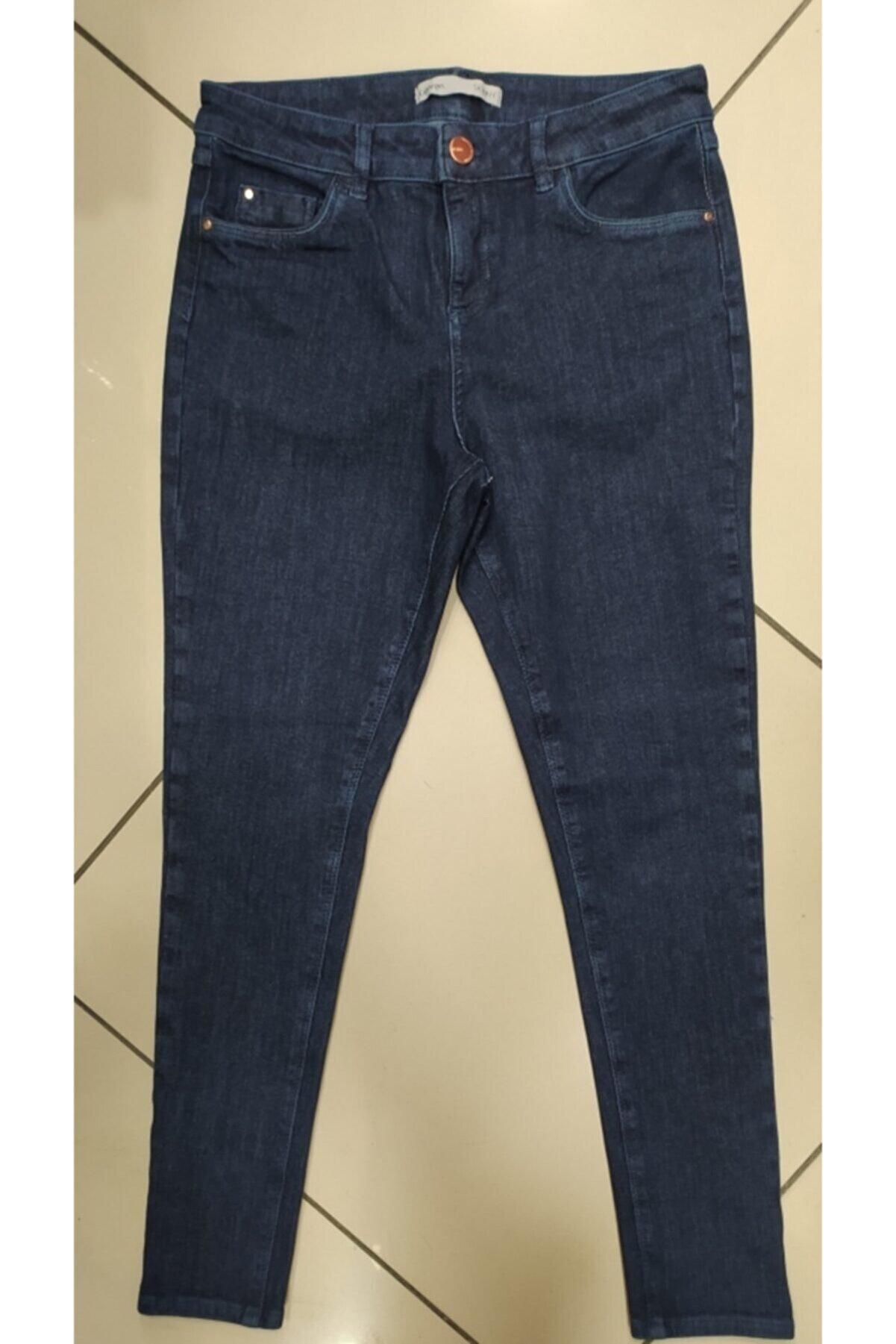 Hepsibitarz Kadın Mavi Likralı Jeans Denim Kot Büyük Beden Orjinal Ithal Pantolon