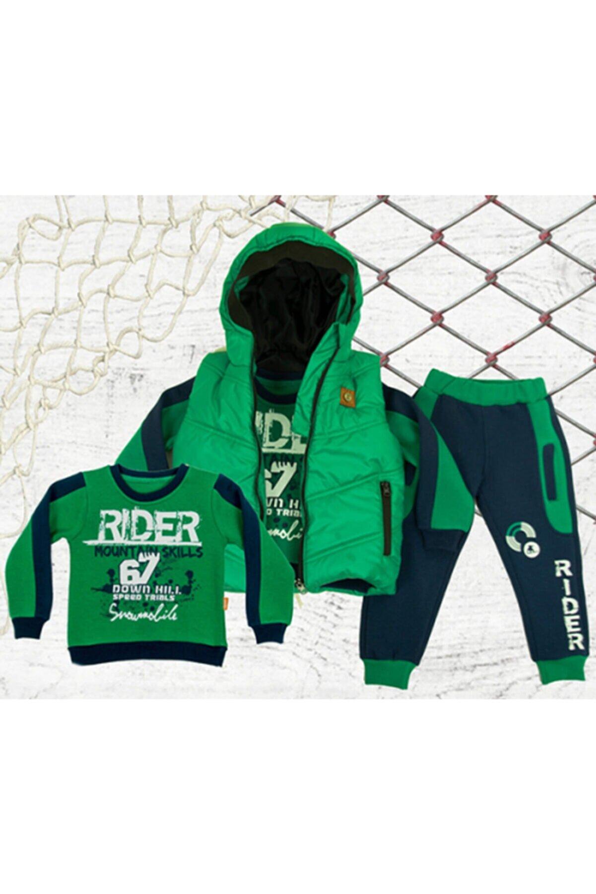 Aymini Kids Erkek Çocuk Yeşil Kışlık Yelekli Takım