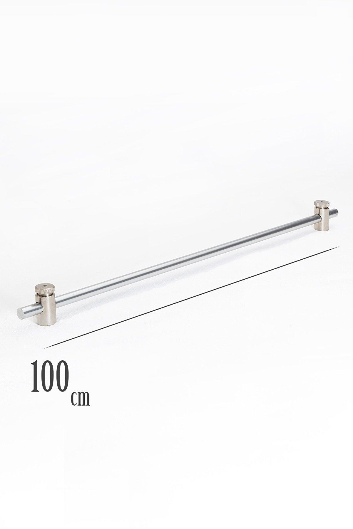 VENTİ PERDE 100 Cm Metalik Gri Rustik 1 Adet Briz Çubuk 2 Adet Başlık