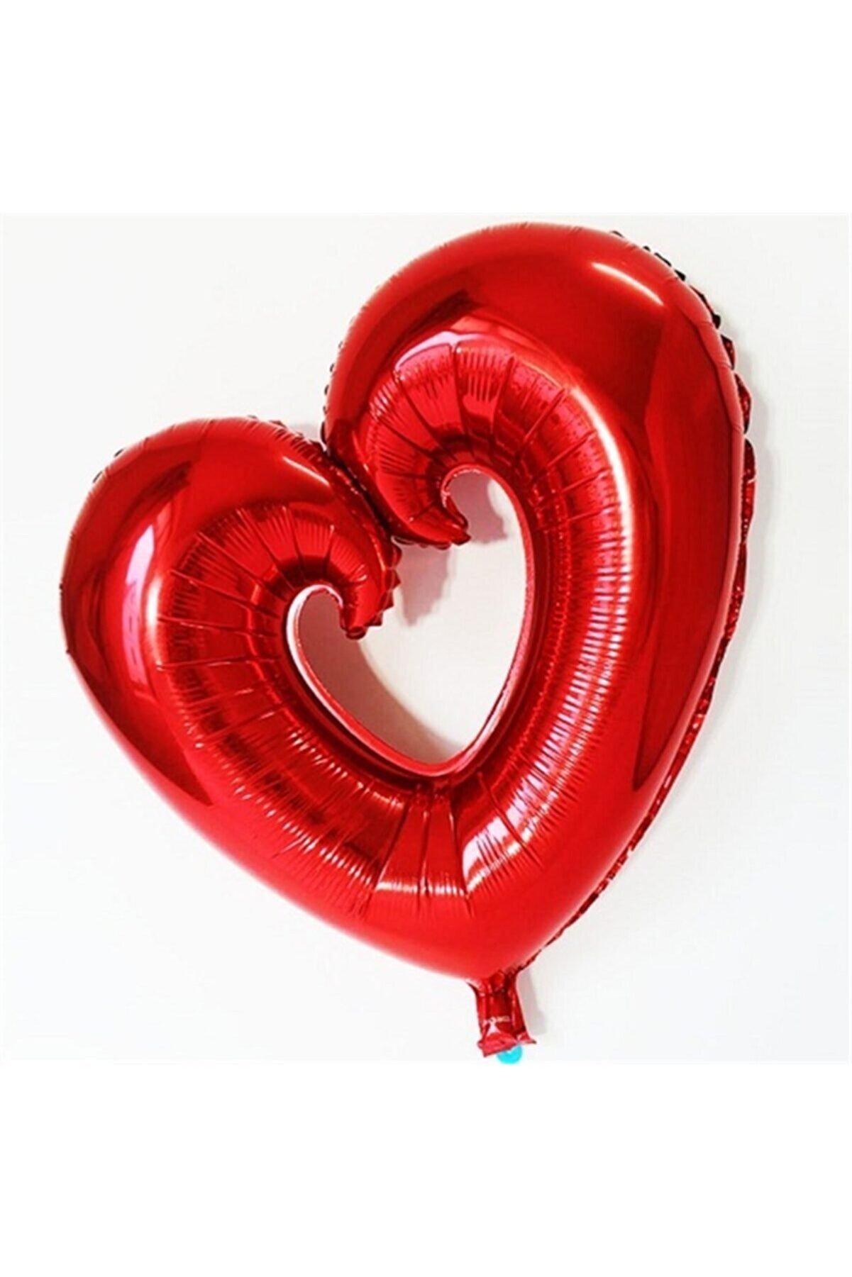 ELITETIME Kalp Şeklinde Ortası Açık Folyo Balon Kırmızı ( 96 Cm * 109 Cm )