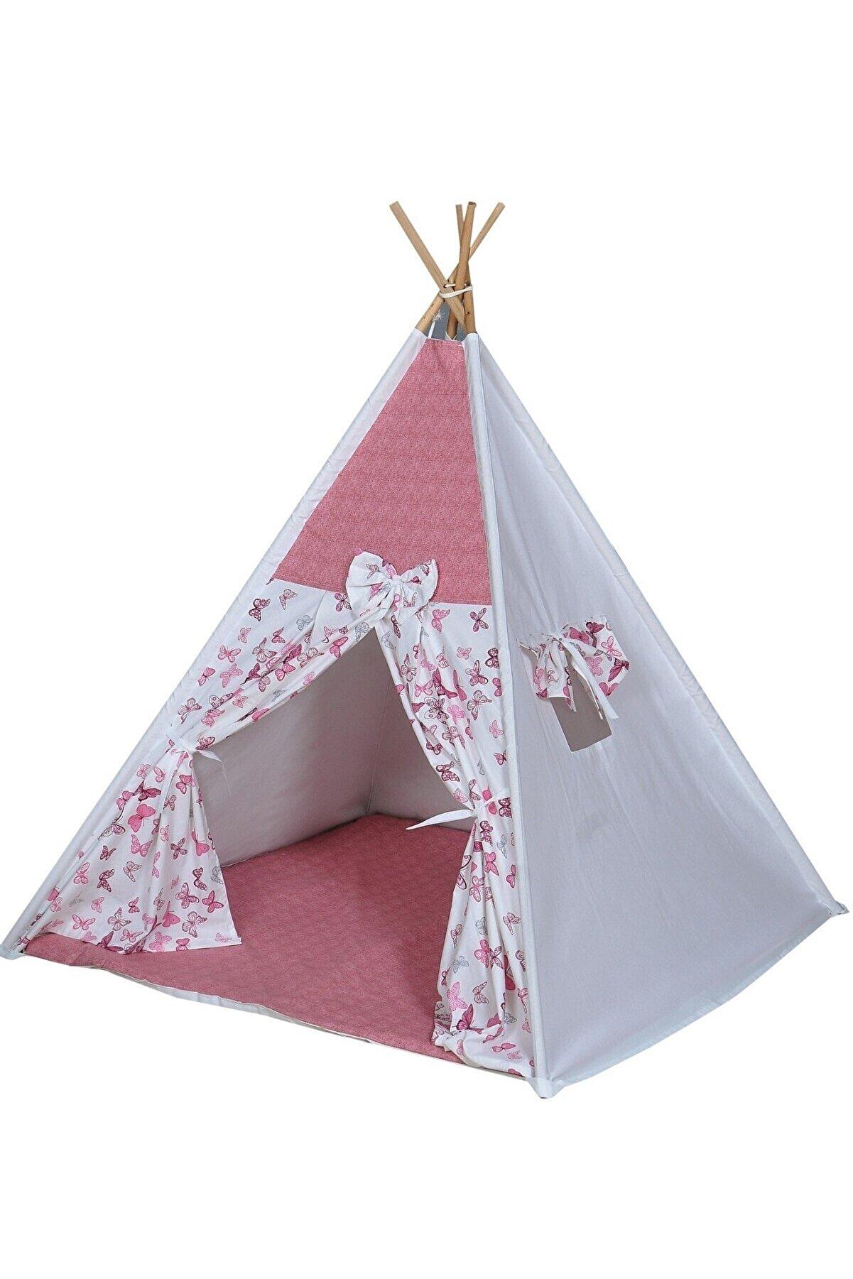 bibebe Pembe Çoçuk Kızılderili  Oyun Evi Kamp Çadırı