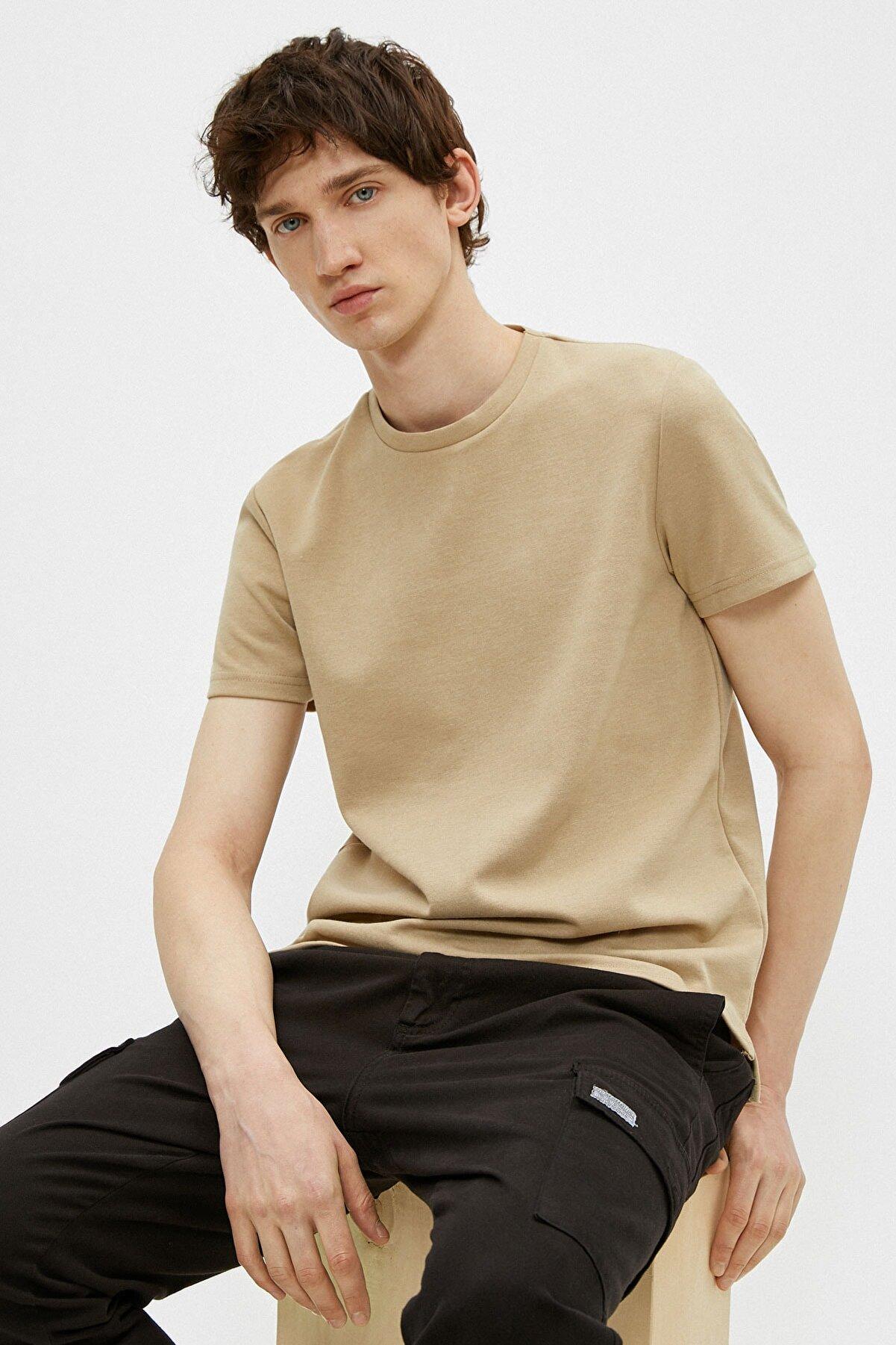 Koton Erkek Bej T-Shirt 1YAM12274LK