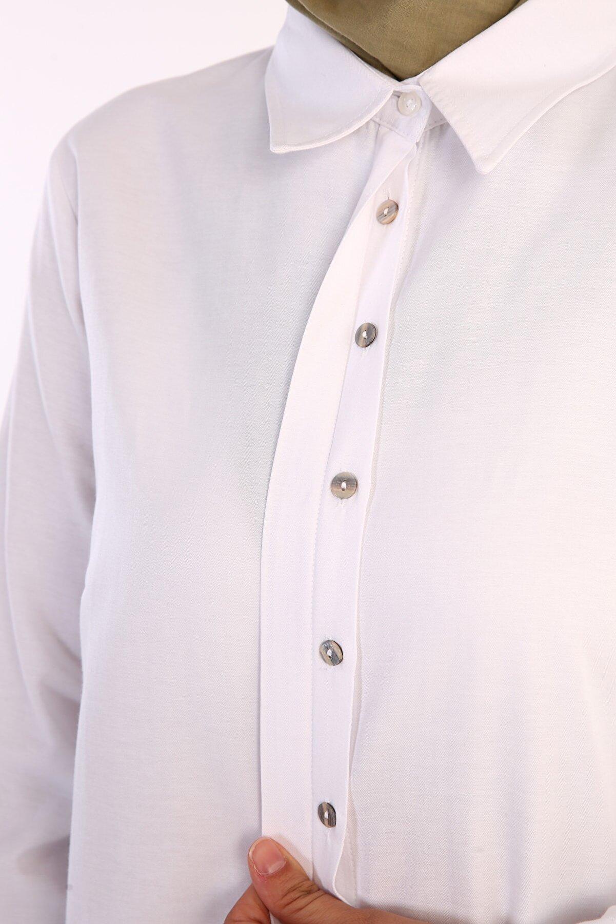 ALLDAY Beyaz Gizli Patlı Gömlek Tunik