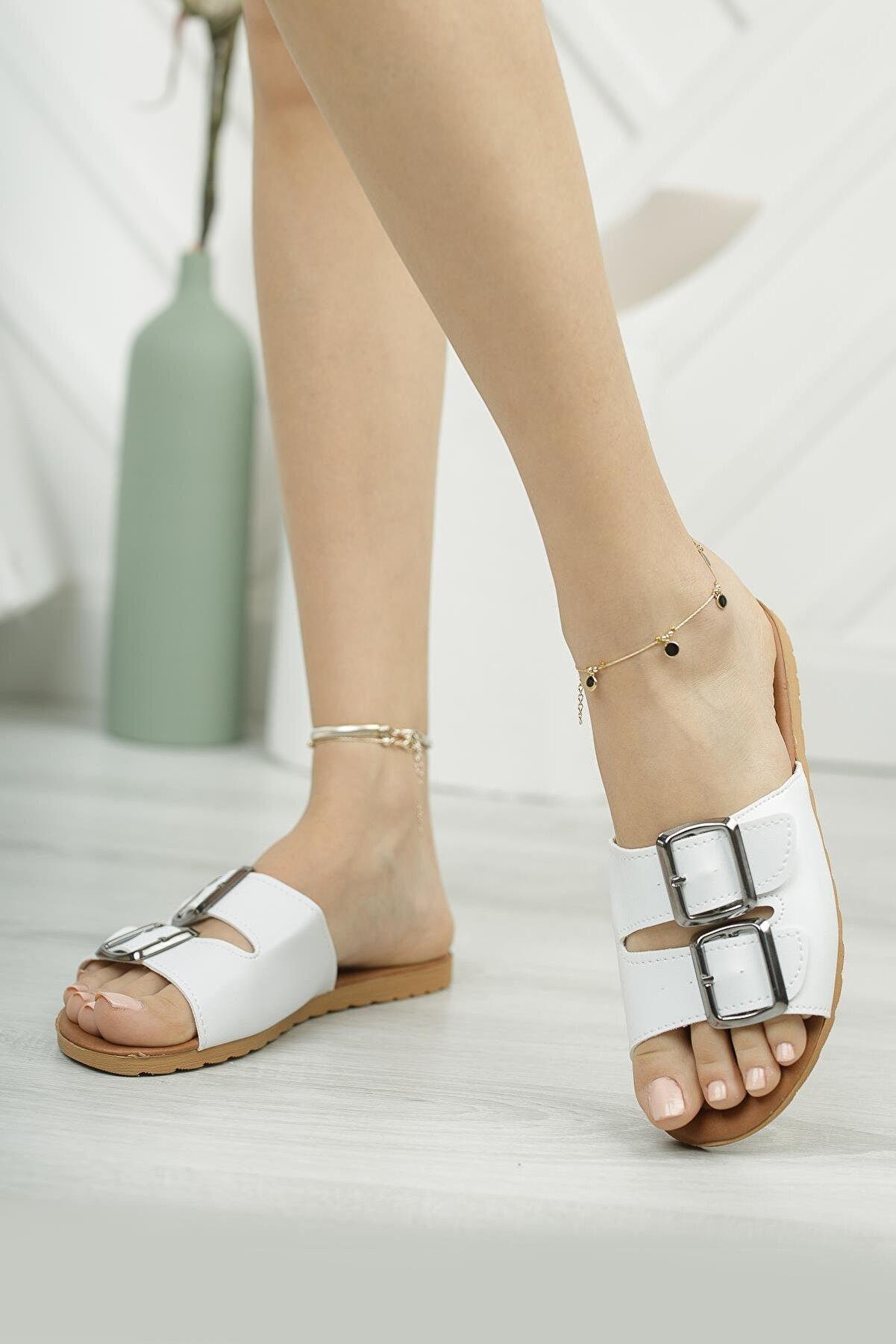 Moda Frato Kadın Beyaz Tokalı Terlik