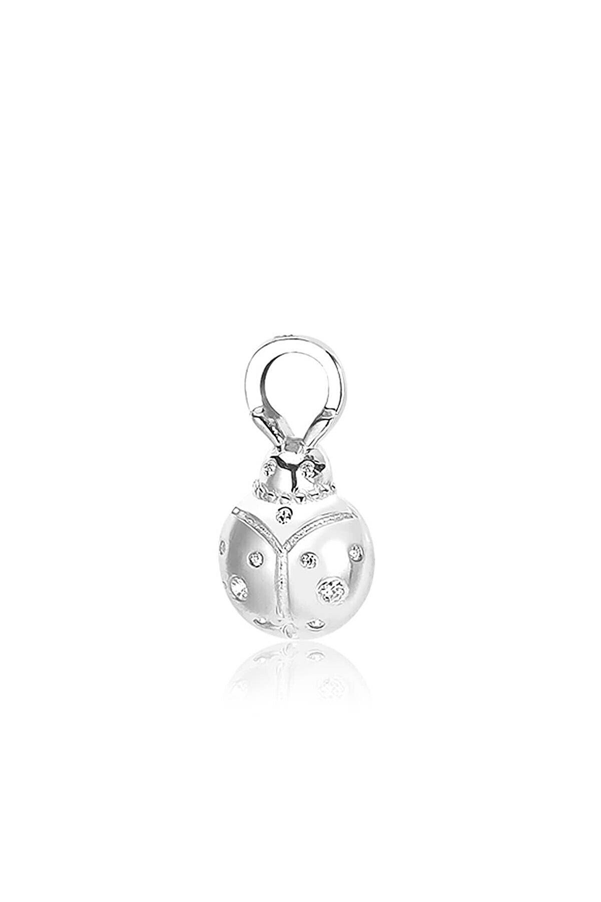 Valori Jewels Uğur Böceği, Zirkon Beyaz Taşlı, Gümüş Küpe Charmı