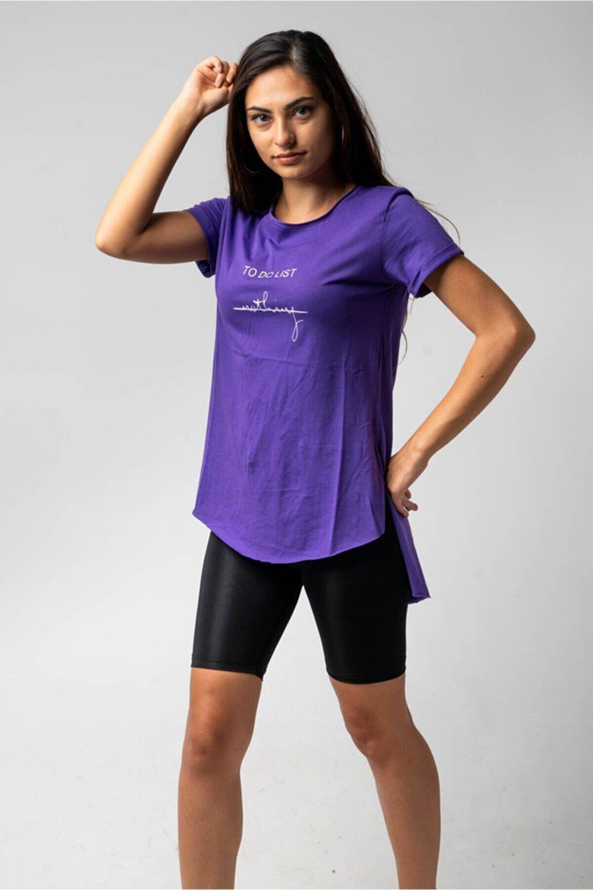CNS Kadın Mor To Do List Nothing- Baskılı T-Shirt