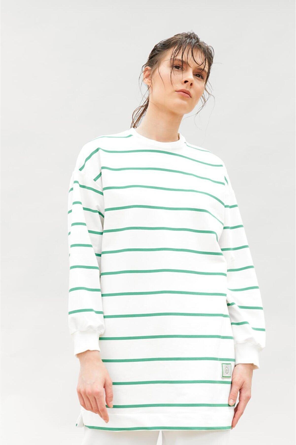 KAHVEE Kadın Oversize Penye Yeşil Çizgili Oversize Tunik