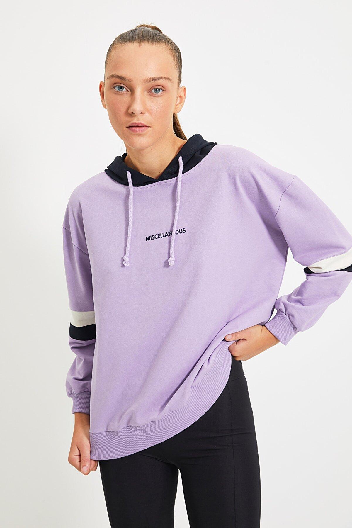 TRENDYOLMİLLA Lila Nakışlı Kapüşonlu Spor Sweatshirt TWOAW21SW0665
