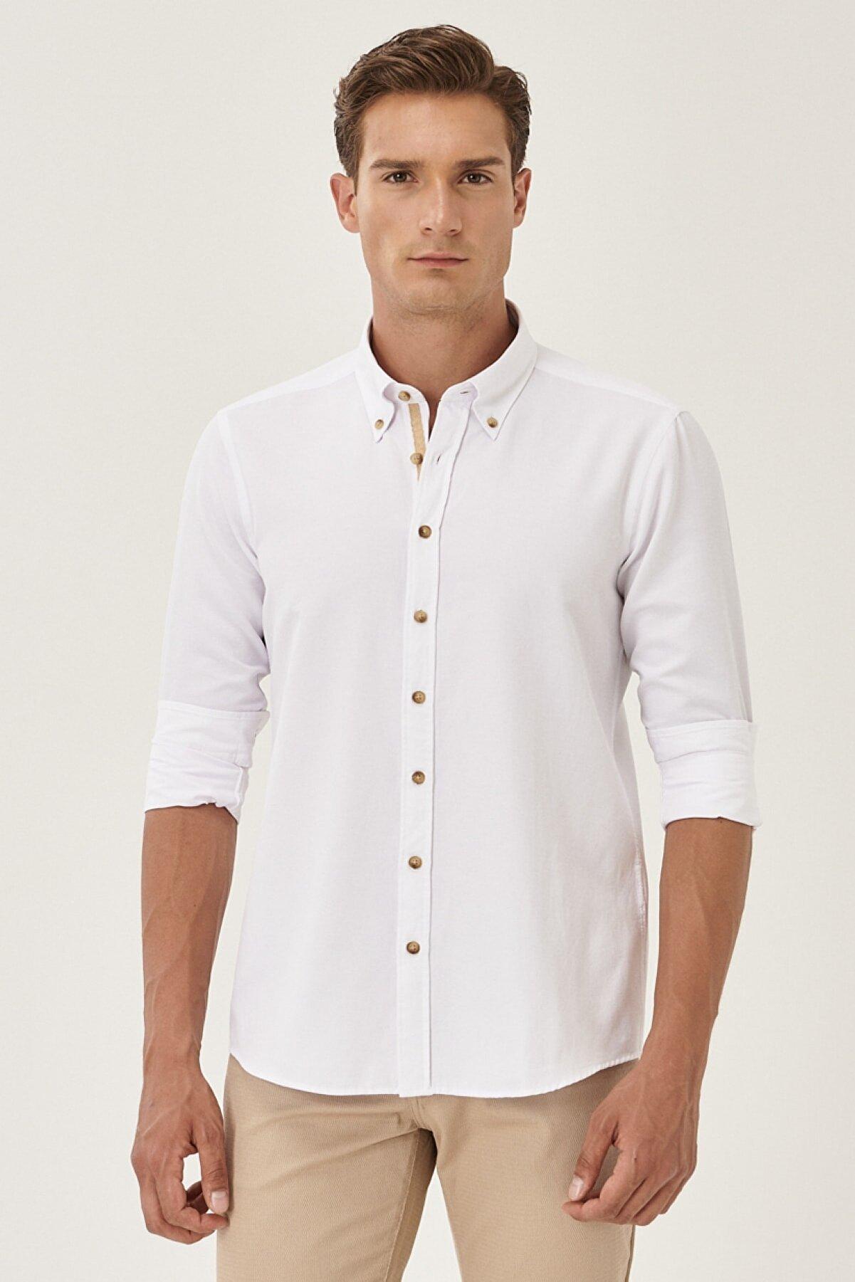 Altınyıldız Classics Erkek Beyaz Tailored Slim Fit Dar Kesim Düğmeli Yaka Oxford Gömlek