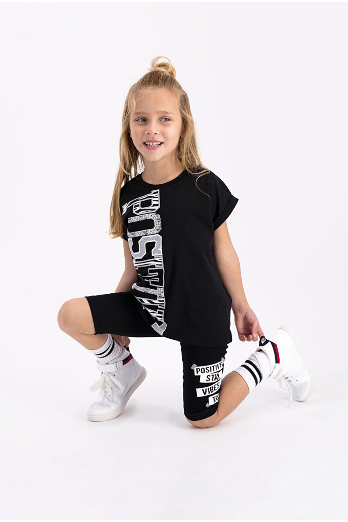 Rolypoly Kız Çocuk Siyah Tayt Bermuda Takım