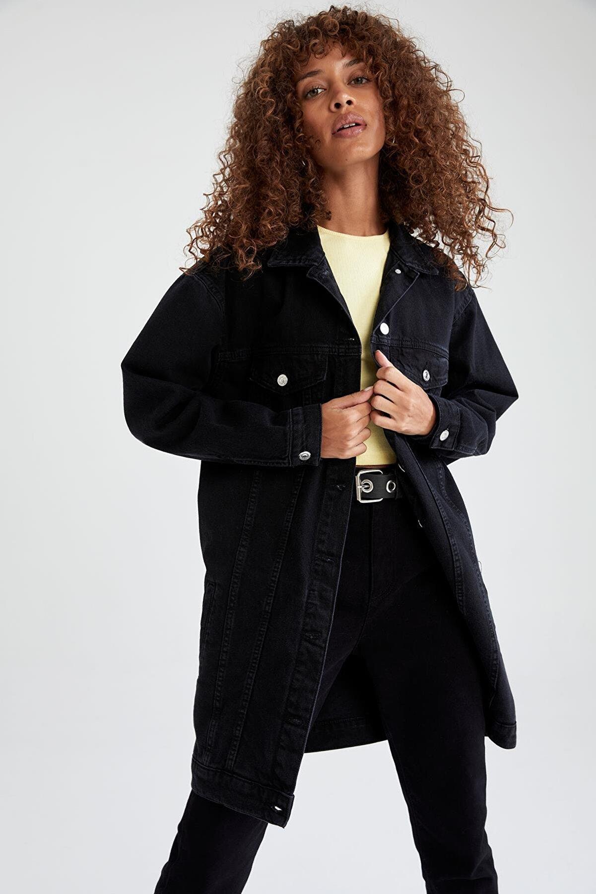 Defacto Basic Relax Fit Uzun Jean Ceket