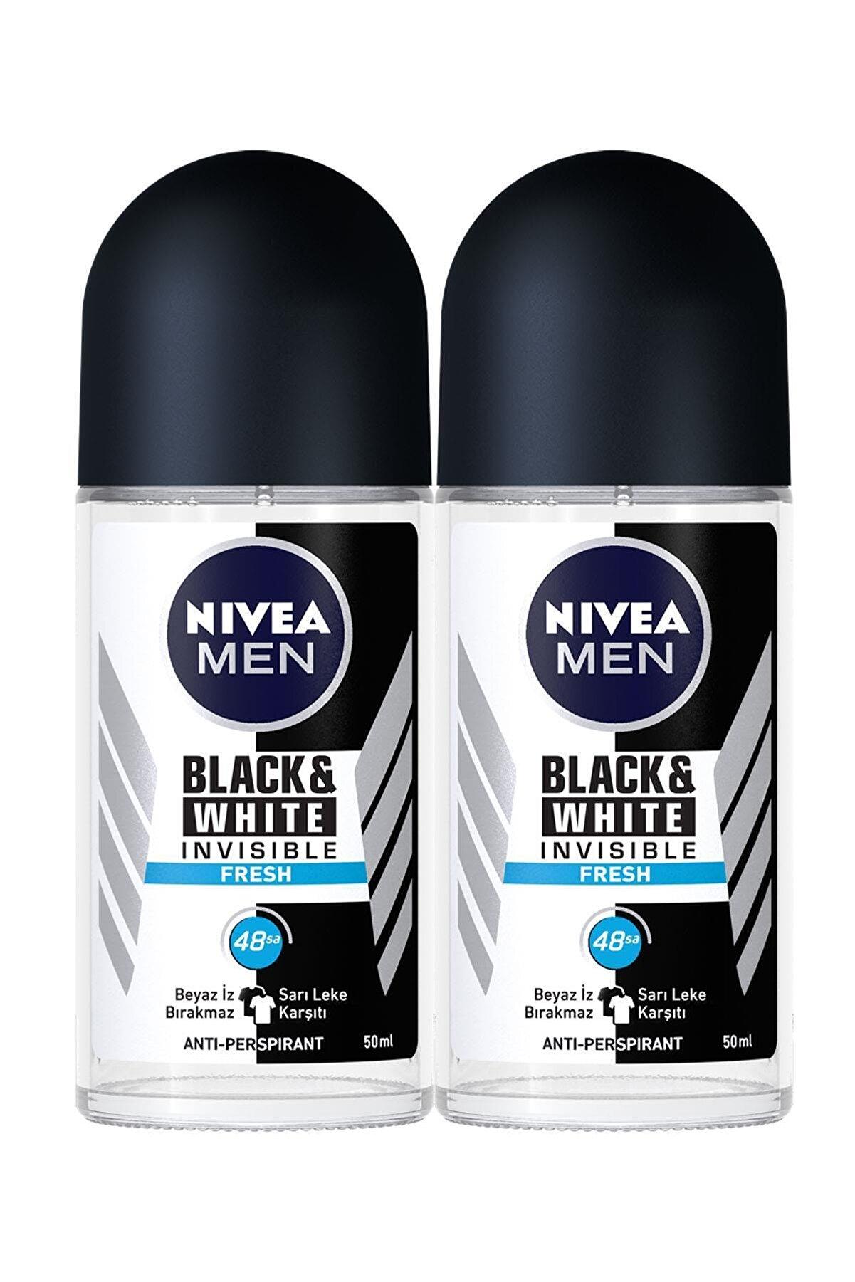 Nivea Nıvea Men Invisible Black & White Fresh Erkek Deodorant Roll-on 50 ml 2'li