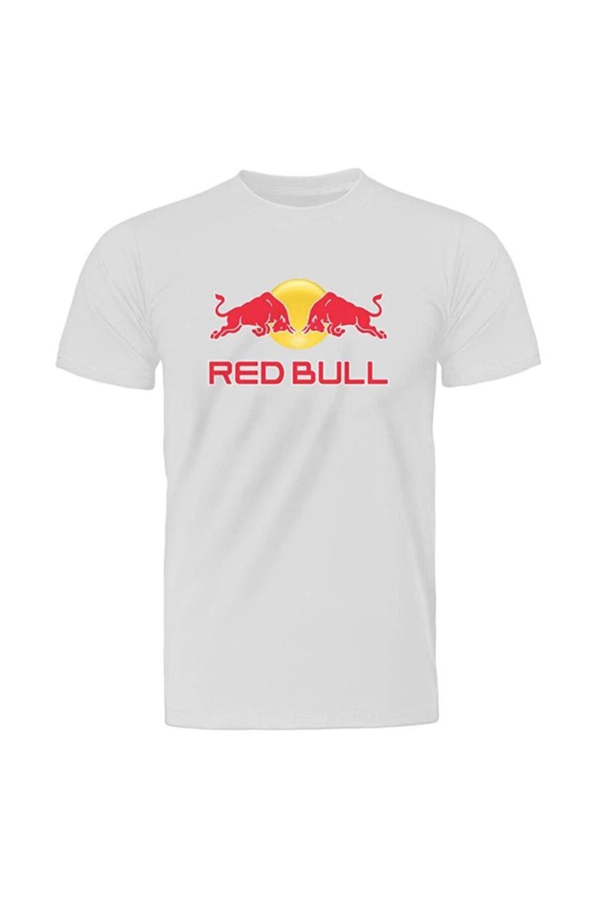 Fandomya Casual Red Bull Logo Beyaz Tişört