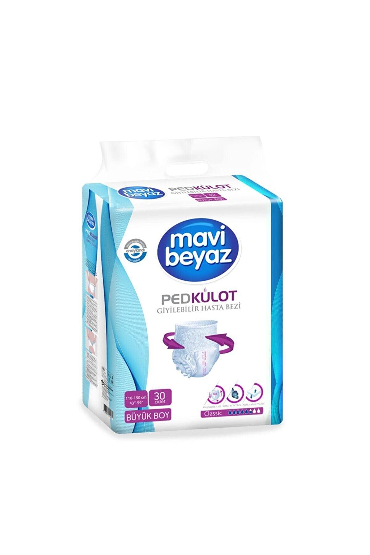 Mavi Beyaz Ped Külot Yetişkin Hasta Bezi Büyük Boy-large 30 Kullanım