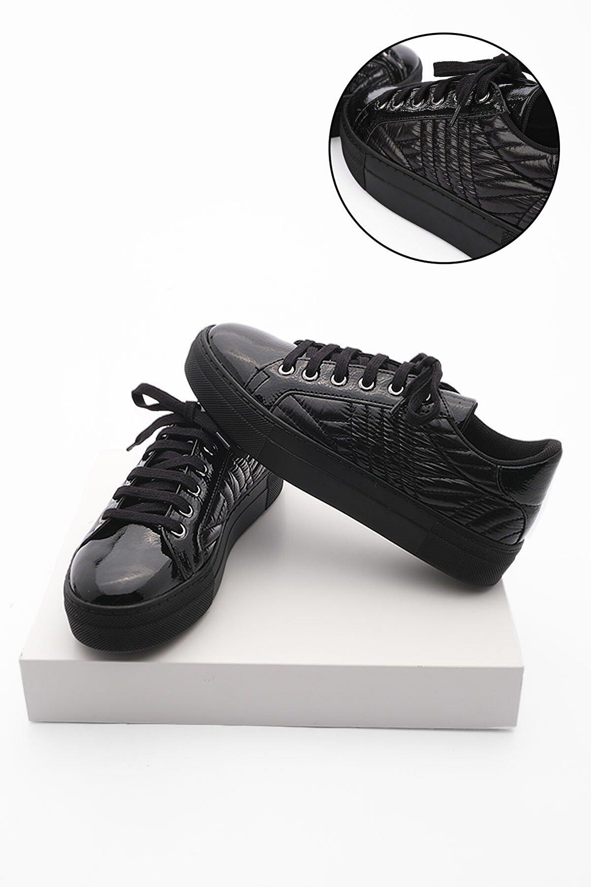 Marjin Kadın Sneaker Ayakkabı Afelasiyah Rugan