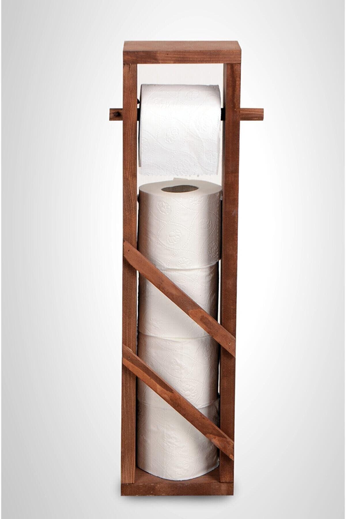 LegnaWood Ahşap Yedek Hazneli Çıtalı Tuvalet Kağıdı Standı Wc Kağıtlığı 4 1