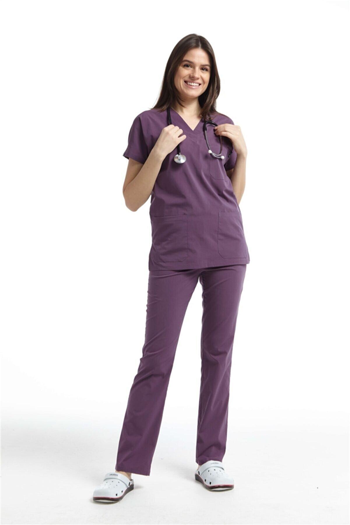 Çatı Medikal Ultralycra Spaniard - Doktor Hemşire Forma Takımı (KADIN), Gül Kurusu