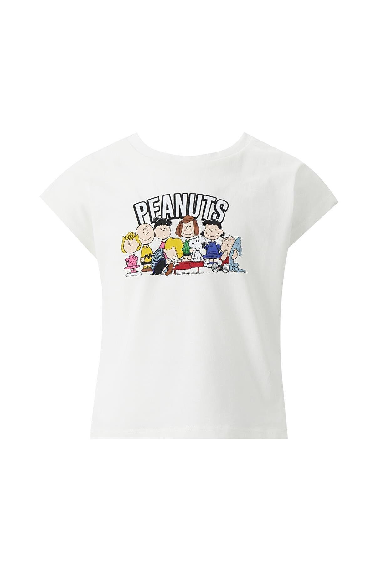 Defacto Kız Çocuk Snoopy Lisanslı Crop Kısa Kollu Tişört