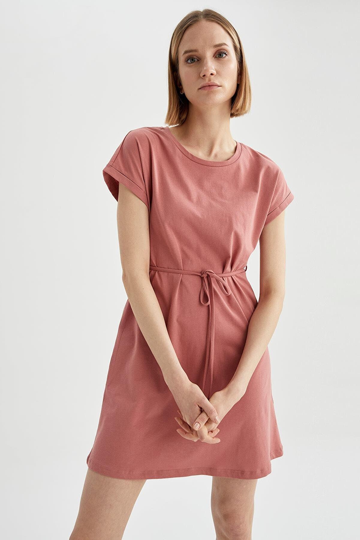 Defacto Basic Beli Bağcıklı Yazlık Mini Elbise