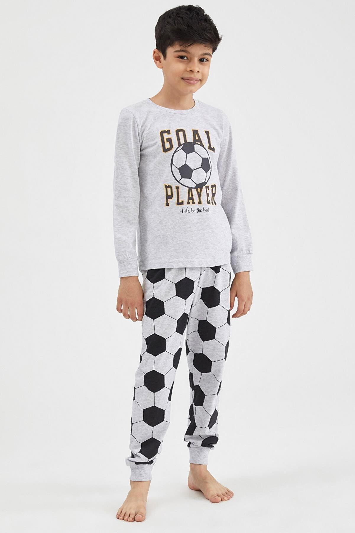 Defacto Erkek Çocuk Gri Futbol Baskılı Pijama Takımı