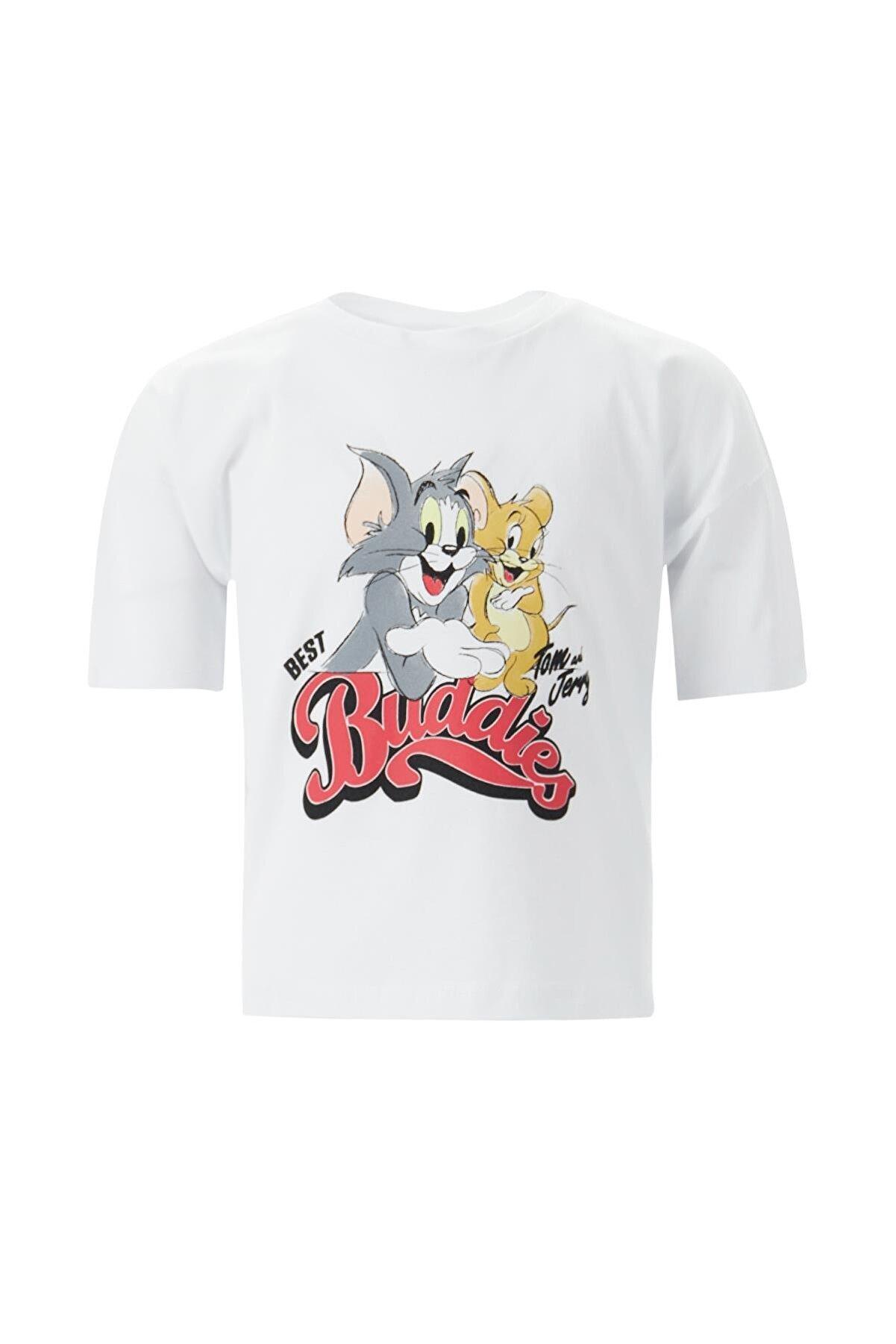 Defacto Kız Çocuk Tom Ve Jerry Lisanslı Crop Kısa Kollu Tişört
