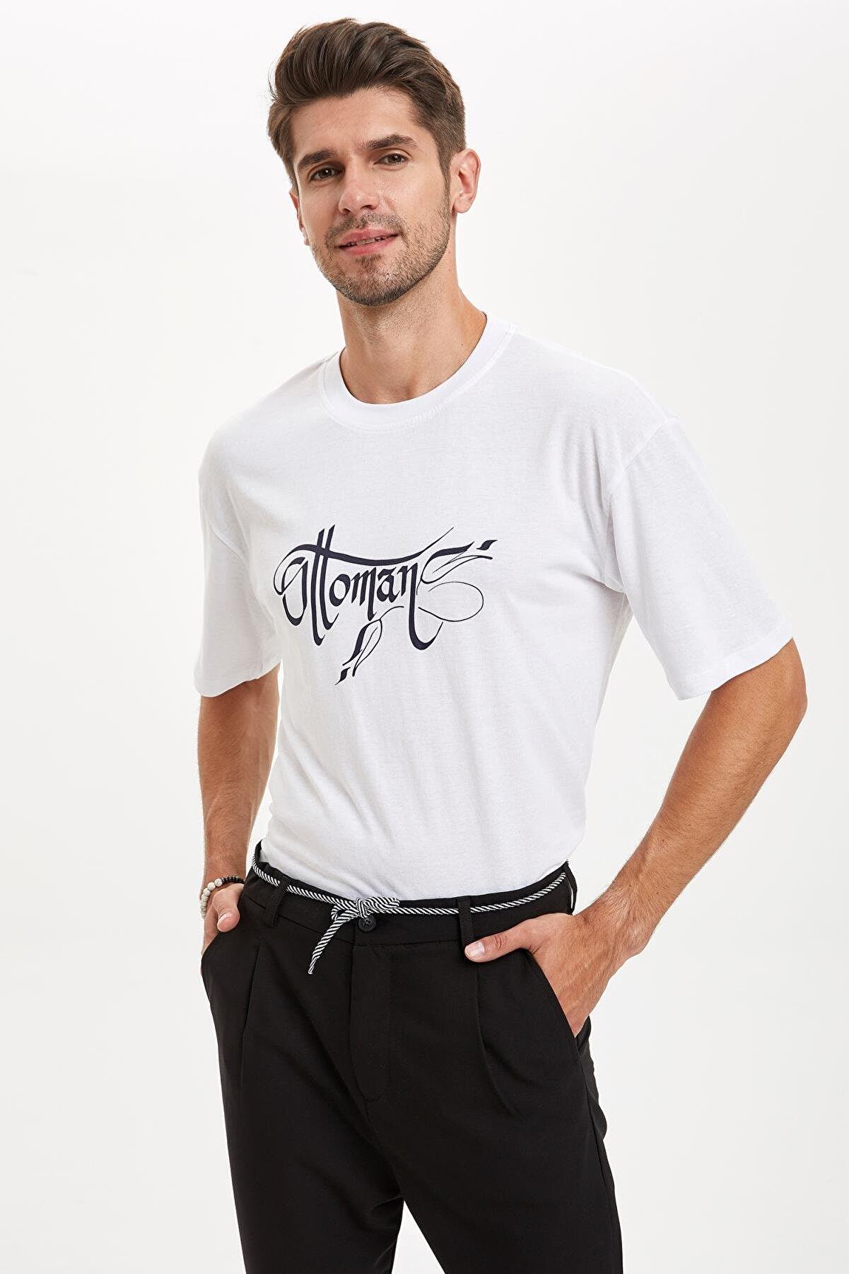 Defacto Osmanlı Temalı Oversize Fit Pamuklu Tişört