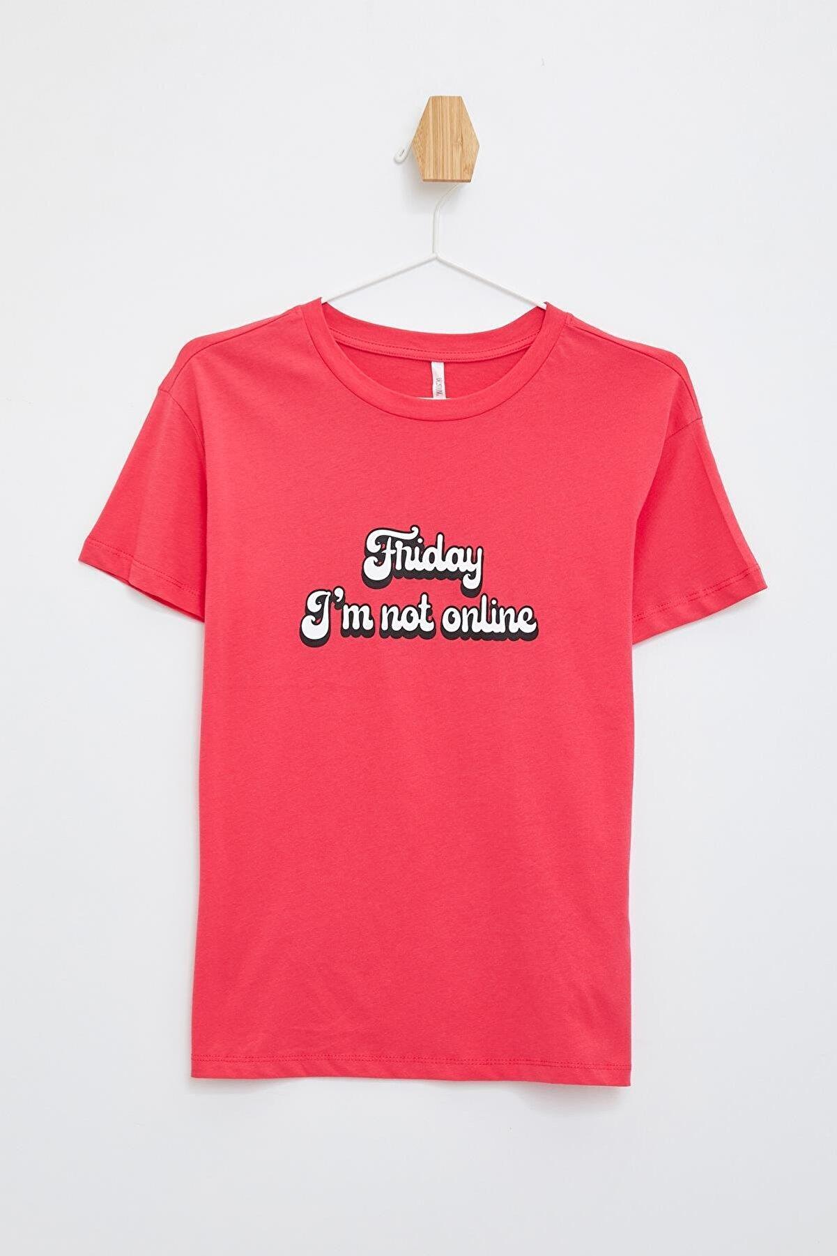 Defacto Slogan Baskılı Relax Fit Tişört