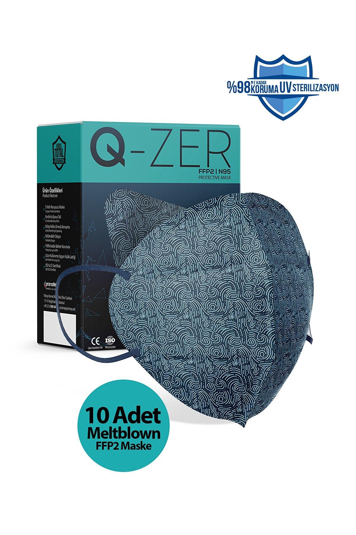 Medizer Qzer Lacivert Dalga Desenli N95 Maske 10 Adet