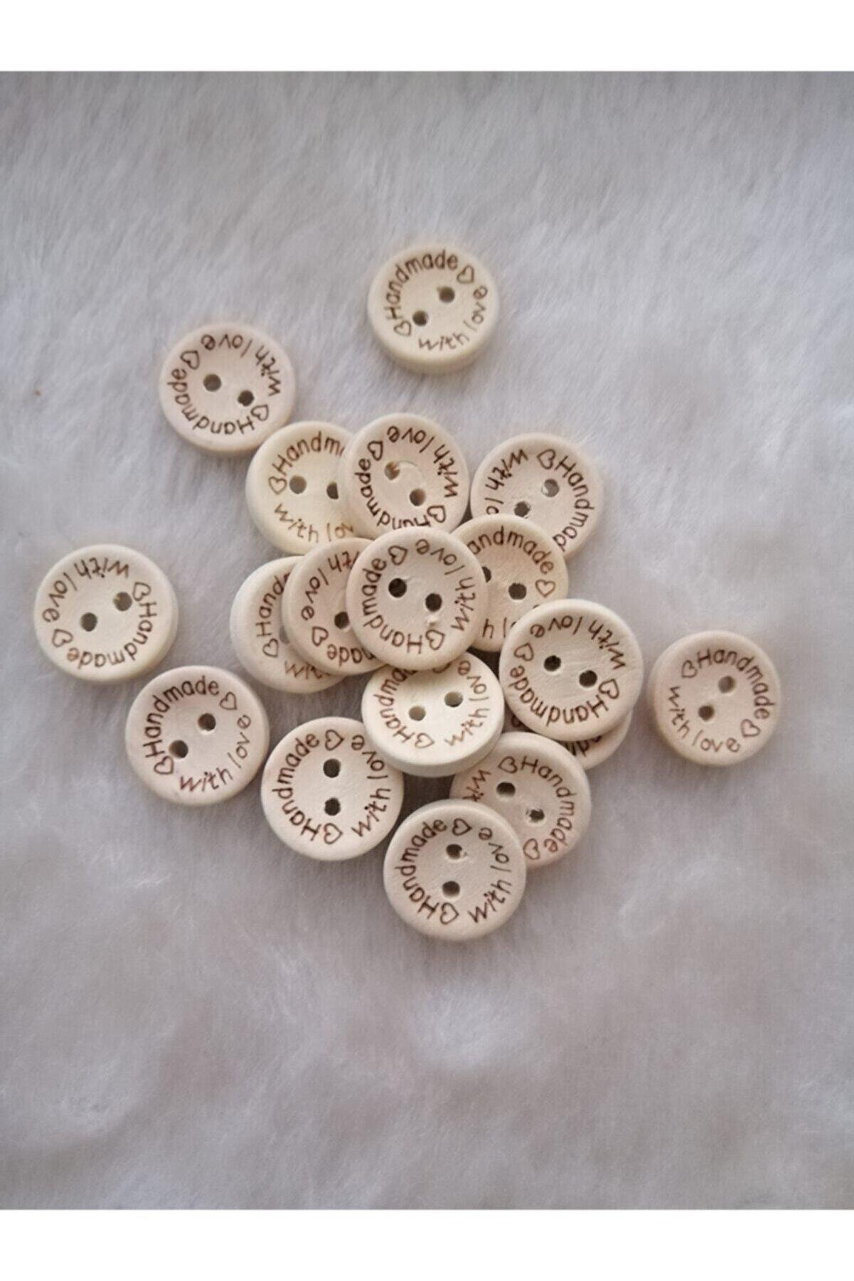 Lotushobievi Hand Made 20 Mm Ahşap Düğme 10 Adet