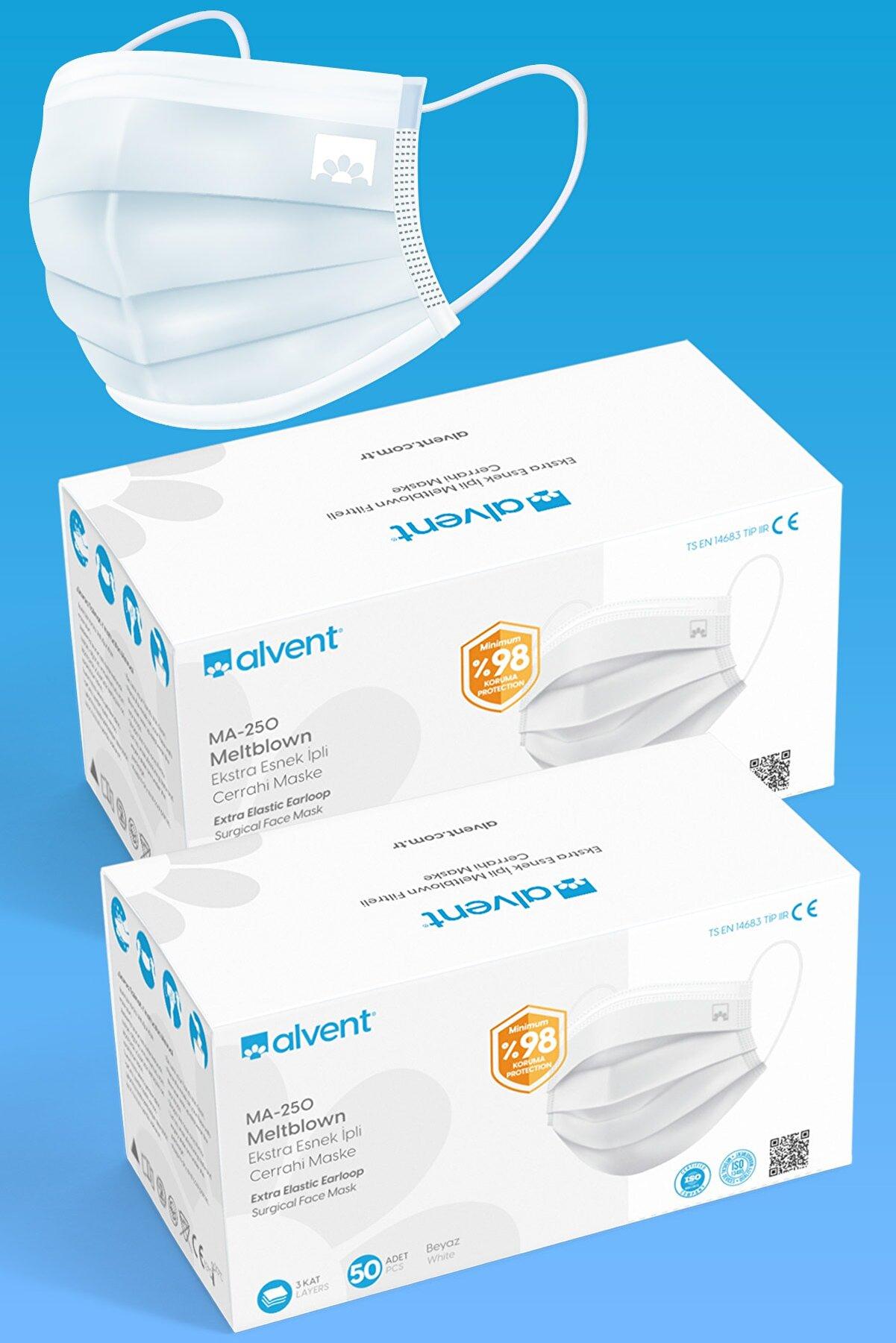 ALVENT Beyaz 3 Katlı Telli Meltblown Filtreli Cerrahi Maske 100 Adet Telli Ma-250