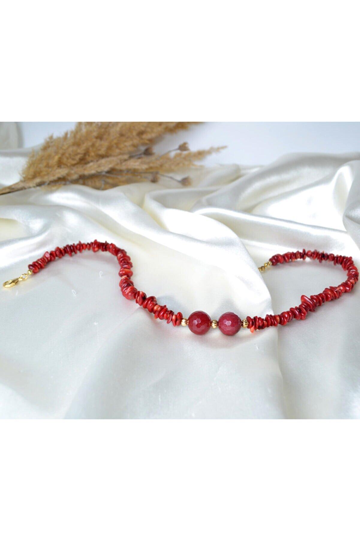 Annalisa Kırmızı Mercan Doğaltaş Kolye