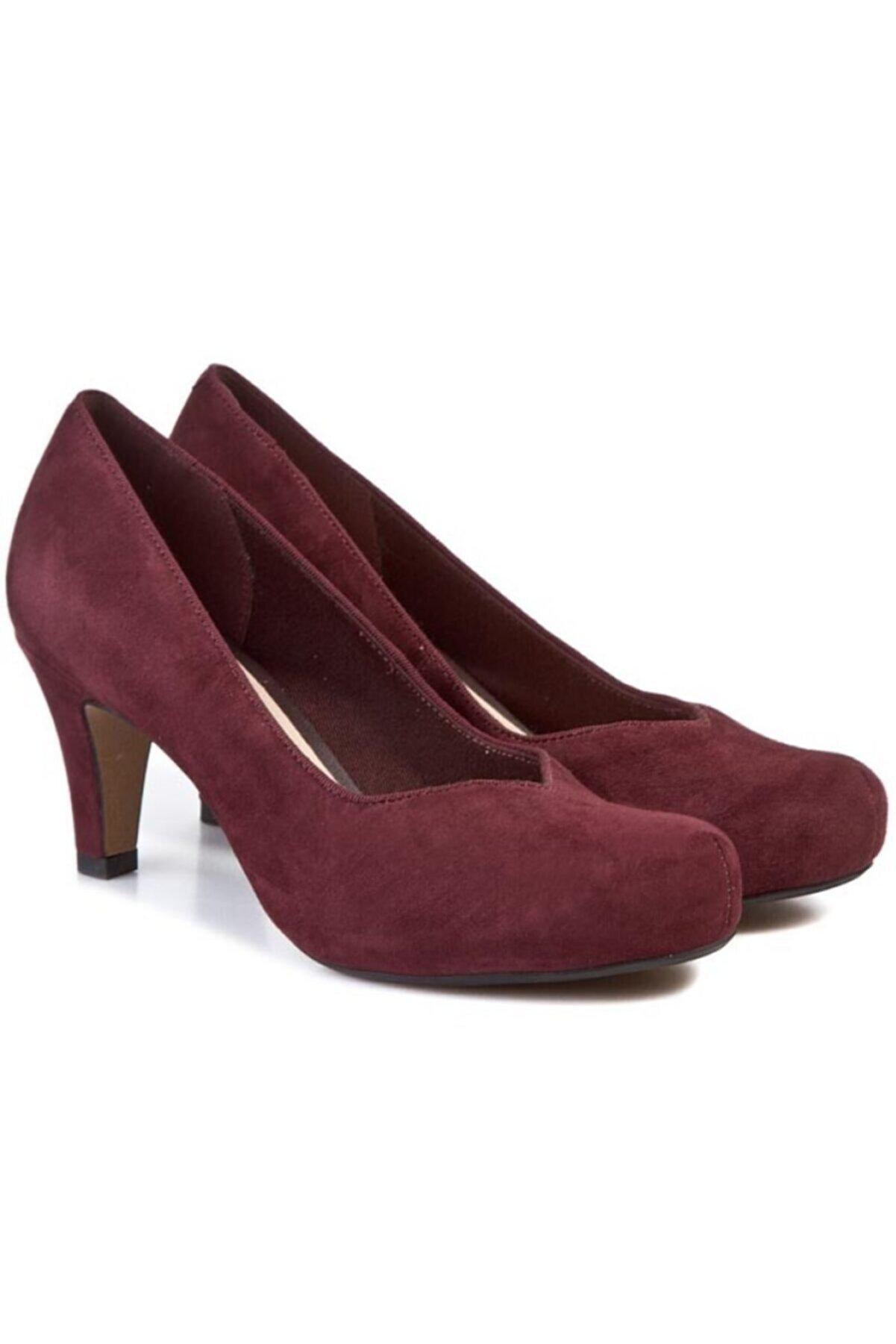 CLARKS Kadın Bordo Doğal Nubuk Topuk 7,5 cm Şık Ve Rahat Ayakkabı Ürün Adı Chorus Voice