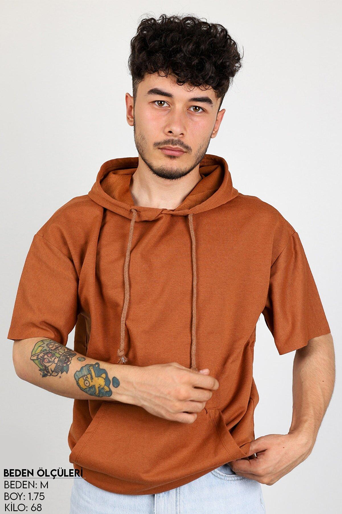 Sekizbiraltı Kahverengi Kısa Kol Kapşonlu Sweatshirt