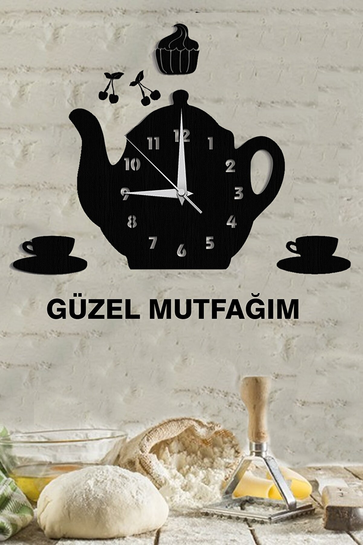 Hayveys Duvar Dekoru Çaydanlıklı Saat Güzel Mutfağım