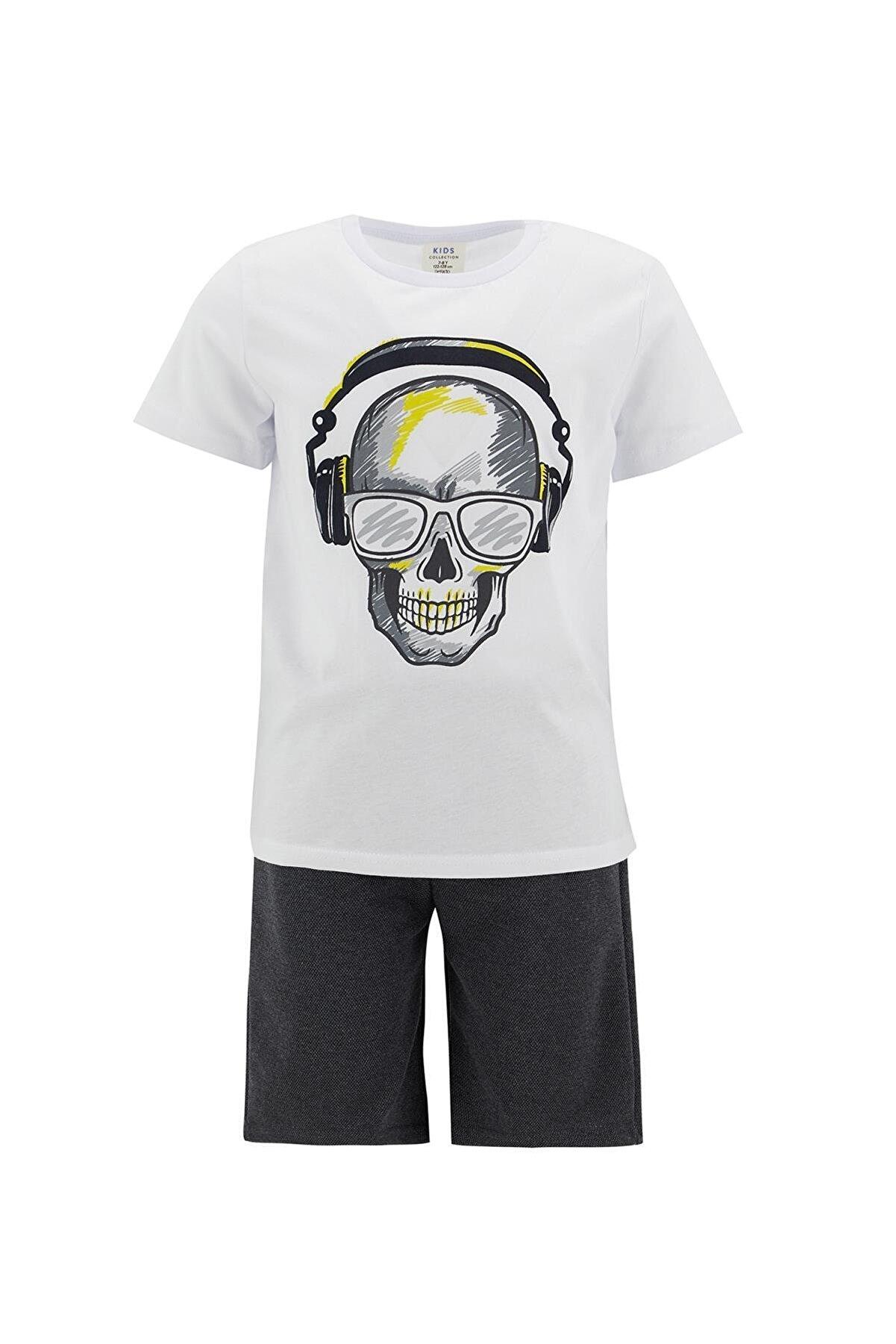 Defacto Erkek Çocuk Kuru Kafa Baskılı Tişört Ve Bermuda Şort Takımı