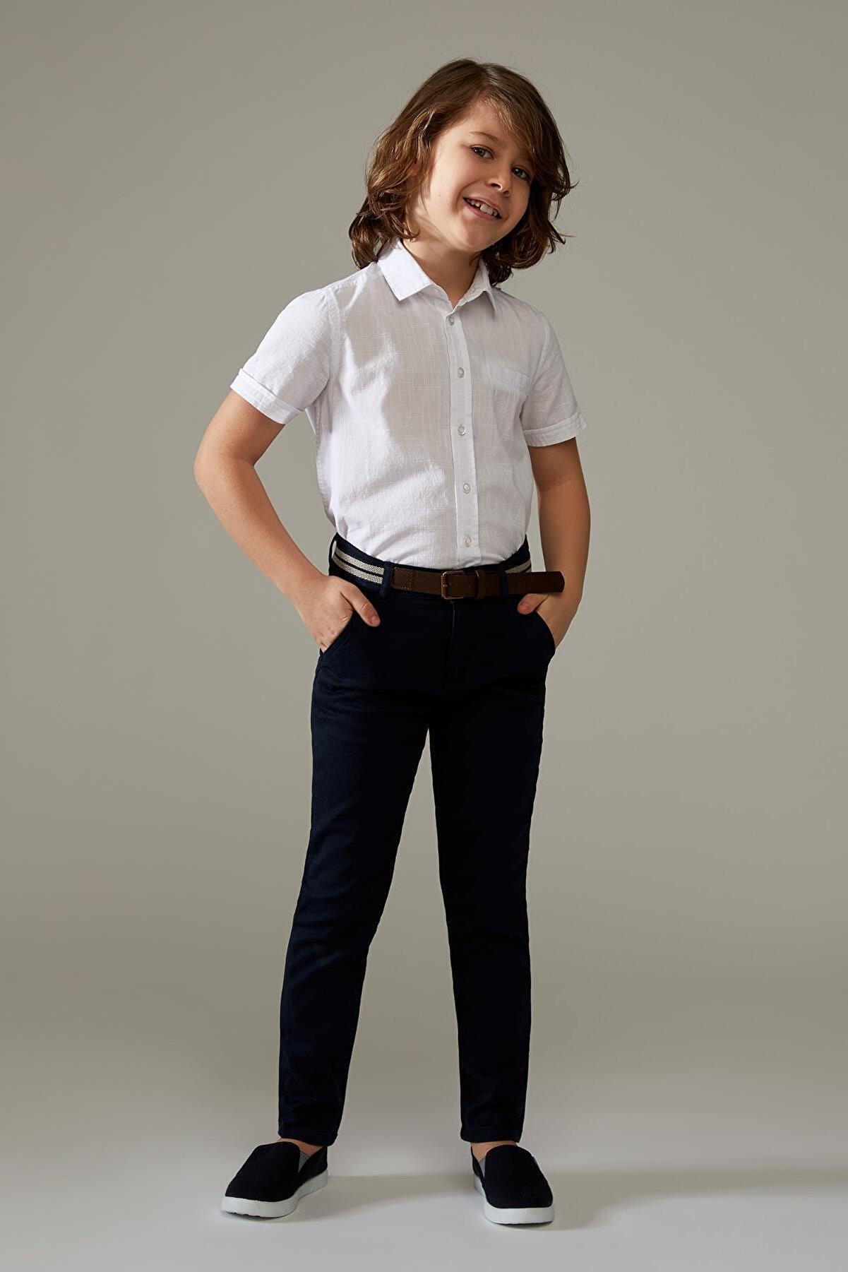 Defacto Erkek Çocuk Regular Fit Kemerli Pantolon