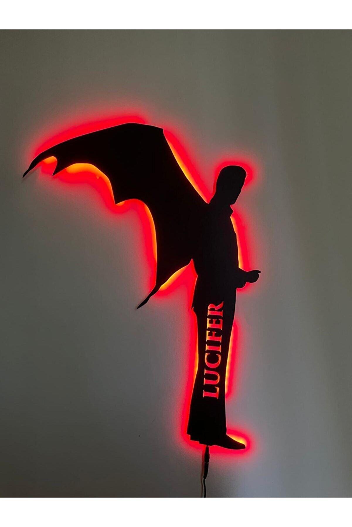 WiseDec Lucifer Metal Led Duvar Dekoru Kırmızı