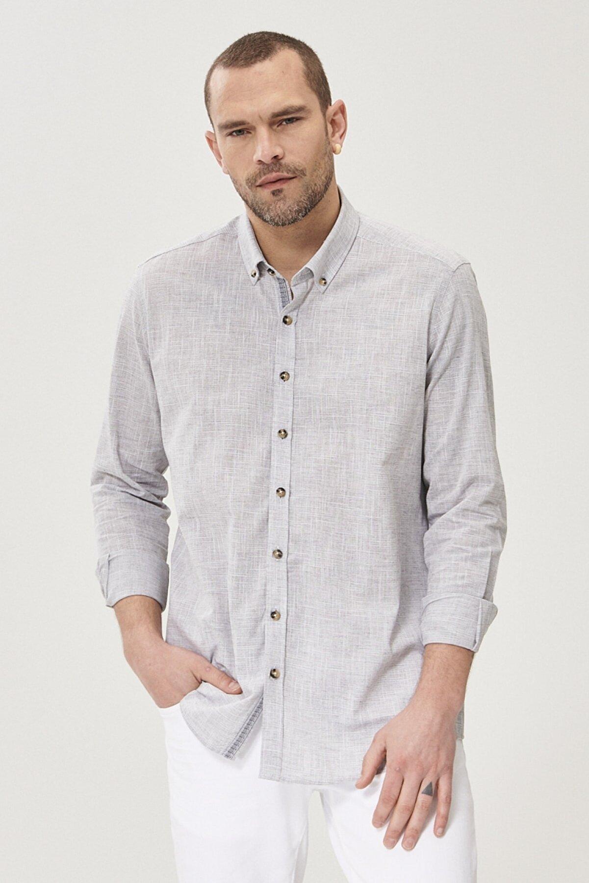 Altınyıldız Classics Erkek Antrasit Tailored Slim Fit Dar Kesim Düğmeli Yaka %100 Koton Gömlek