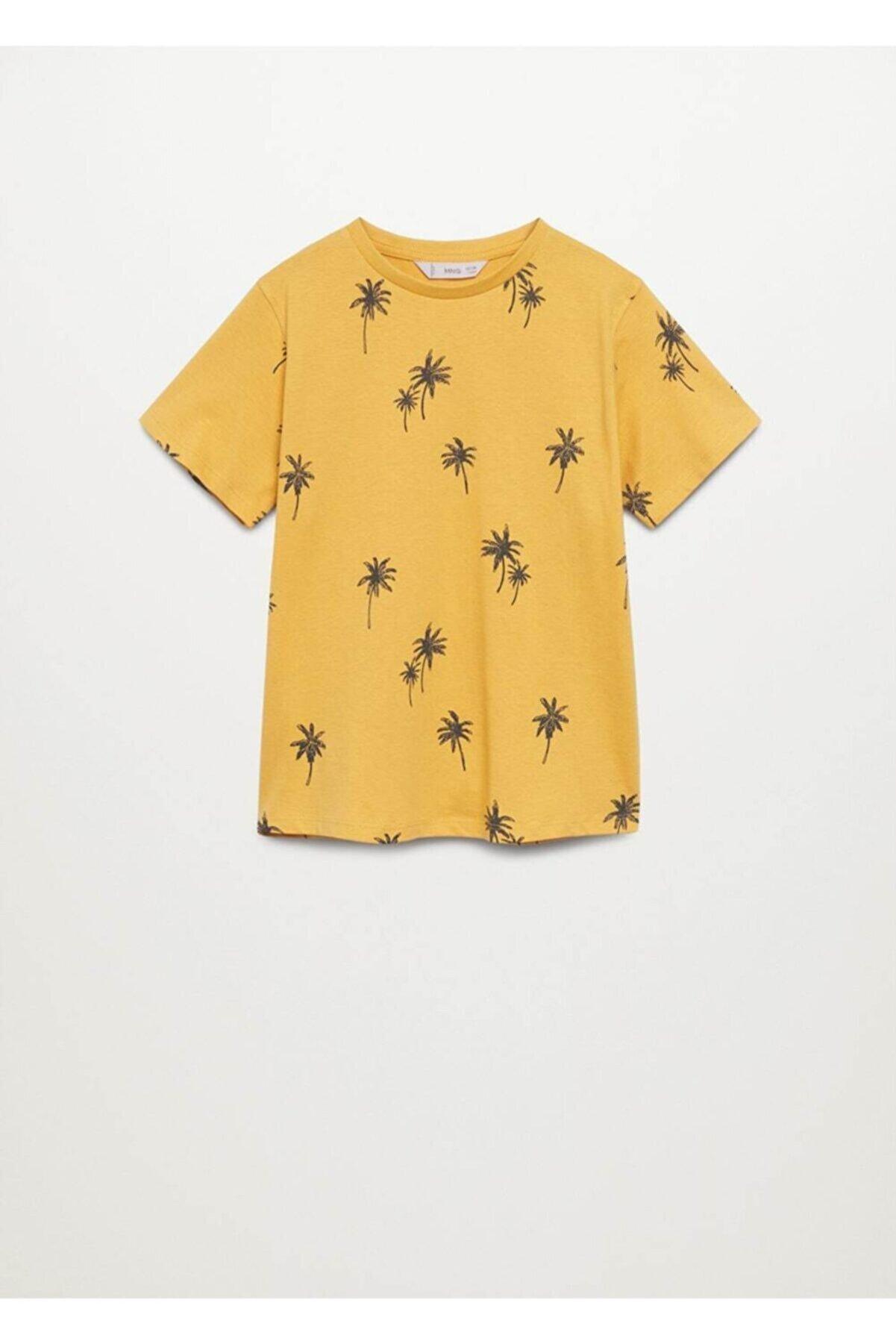 Mango Kayık Baskılı Pamuklu Tişört