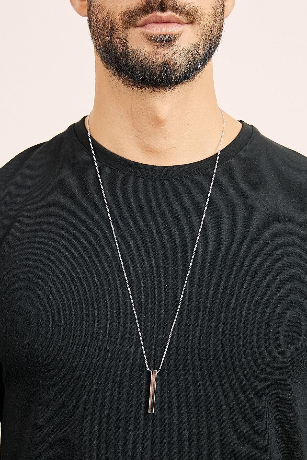 MedBlack Jewelry Unisex Gümüş Renk Kaplama Zincir Bar Kolye