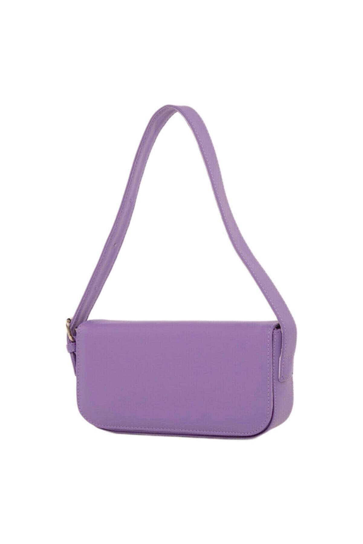 Babi West Kadın Lila Kapaklı Baget Çanta