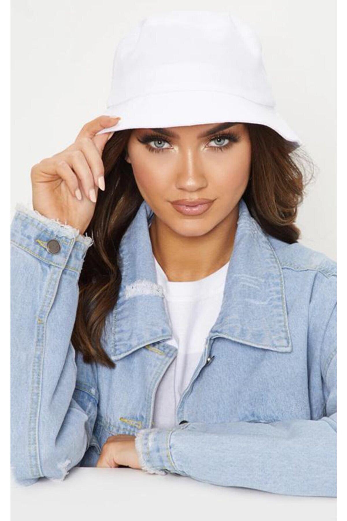 Mozto Kadın Beyaz Bucket Balıkçı Şapka