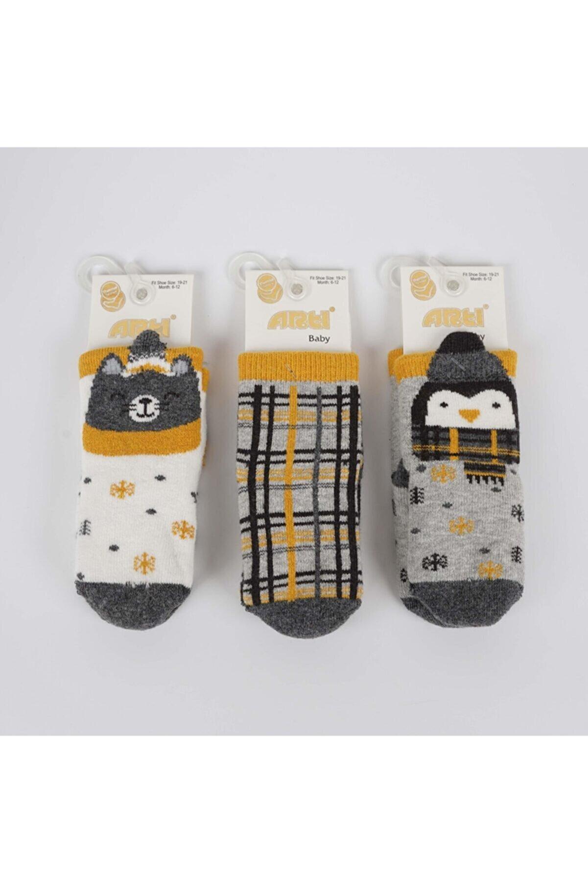 Artı Tipet 3'lü Erkek Bebek Havlu Soket Çorap