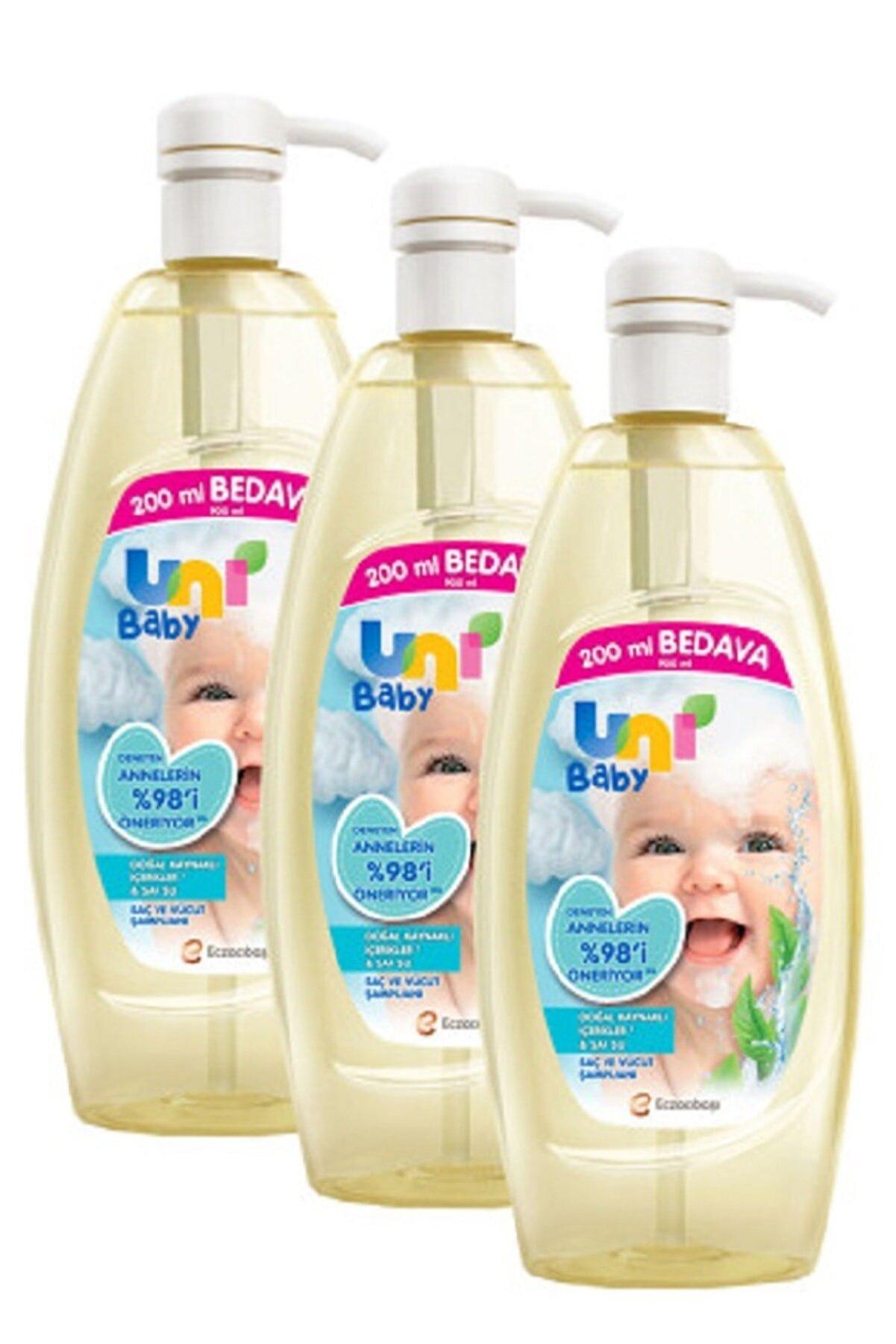 Uni Baby Şampuan Boyasız Pompalı Bebekler İçin 3'lü Set 900 ml