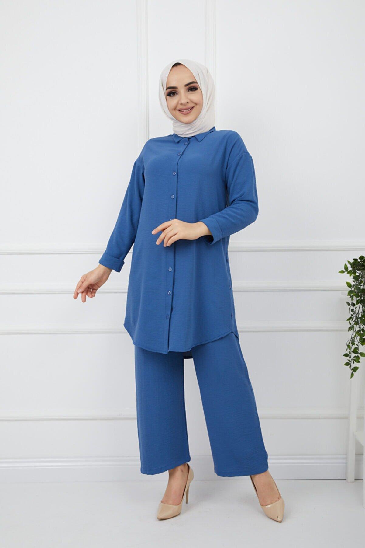 Bayanca Moda Kadın Tesettür Airobin Kumaş Tunik&bol Paça Pantolon Takım