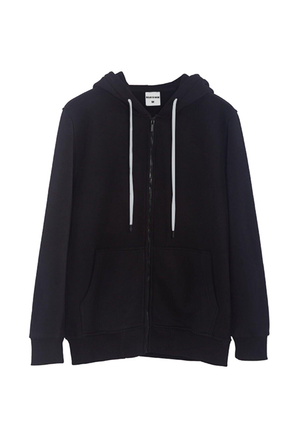 Relax&Basic Siyah Kapüşonlu Fermuarlı Sweatshirt