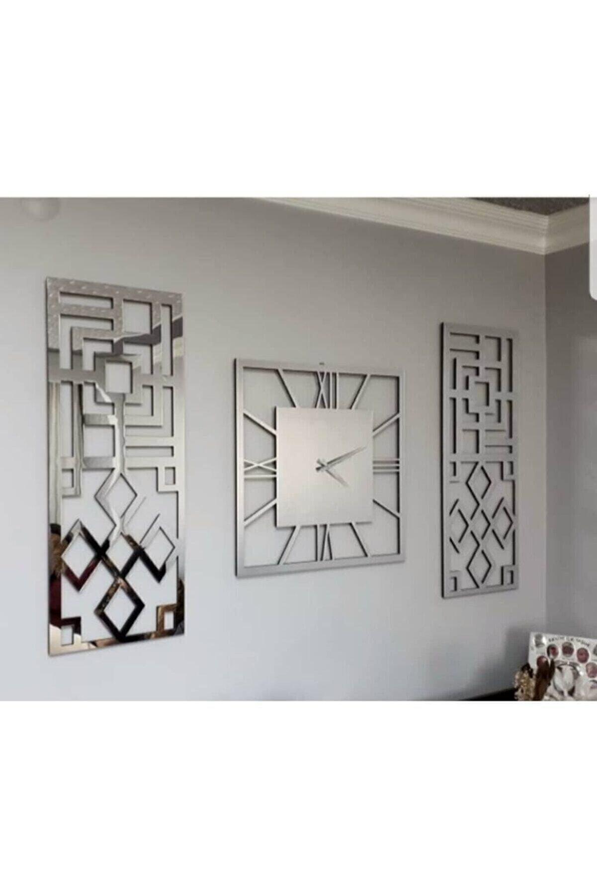 Mavişim Aynalı Gümüş Duvar Saati 20*50 cm  3'lü