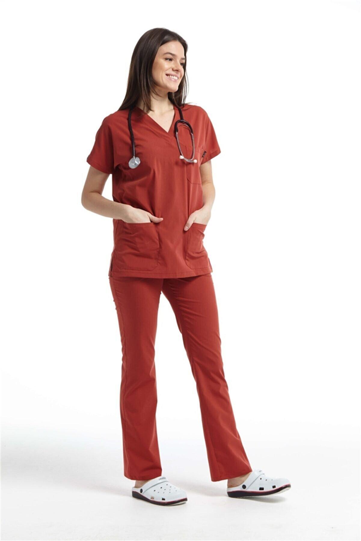 Çatı Medikal Ultralycra Spaniard - Doktor Hemşire Forma Takımı (KADIN), Kiremit