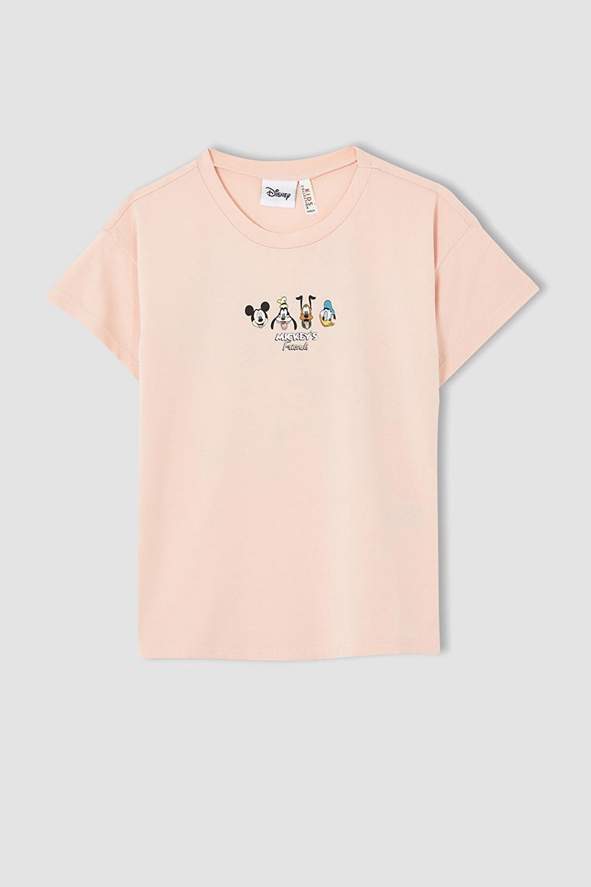 Defacto Kız Çocuk Mickey Mouse Lisanslı Kısa Kollu Tişört U7823A621SMP