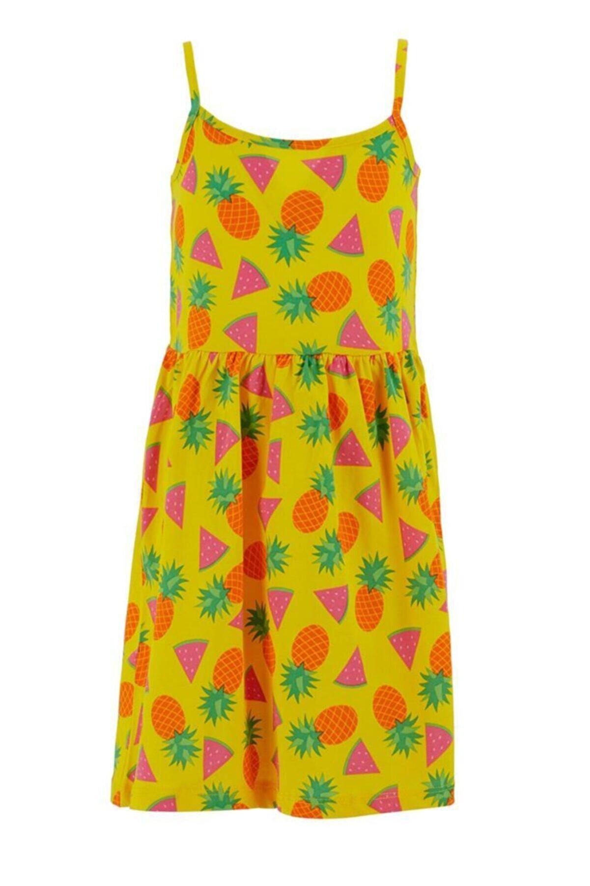 Defacto Kız Çocuk Meyve Desenli Askılı Elbise